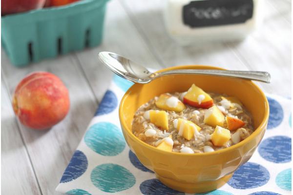 Peach recipes: Peach Coconut Cream Oatmeal via Running to the Kitchen