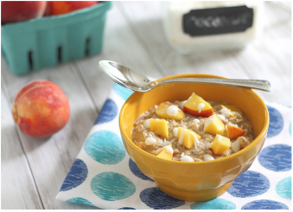Peach recipes: Peach Coconut Cream Oatmeal via Running to the Kitchen