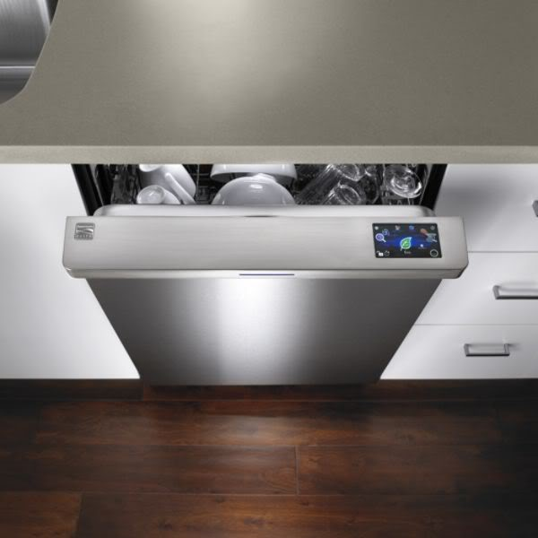 A green dishwasher in shining stainless steel