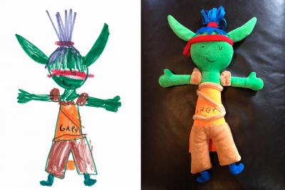 Turning kids' artwork into stuffed animals. As cuddly or scary as you (or they) want.