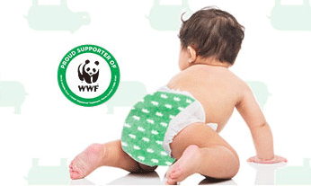 Gorgeous disposable diapers, including a philanthropic hippopotamus
