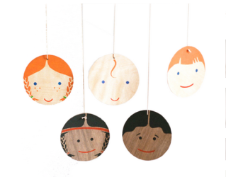 A hand-painted, multicultural mobile babies (and grownups) will love