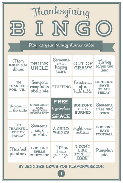 Best New Holiday Tradition goes to…Thanksgiving Bingo!