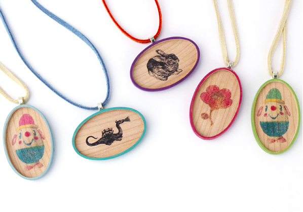Sweet and simple spring bling: whimsical wood pendants
