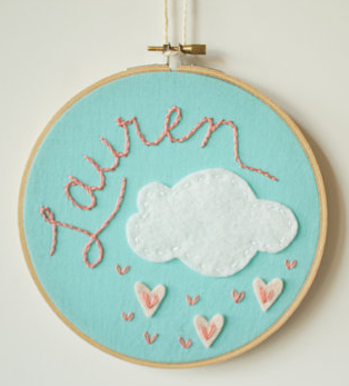 Need an affordable, personalized baby gift? Hoop, there it is!