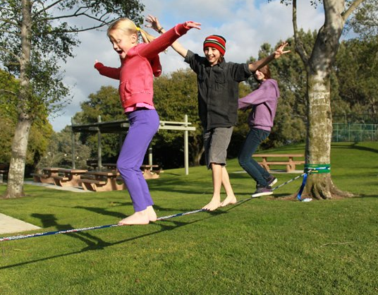 Tiptoe over the tulips while slacklining.