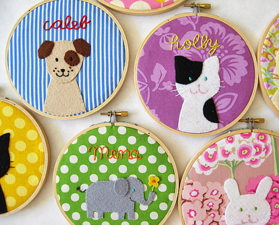 The scoop on cute custom embroidered hoops for kids' rooms