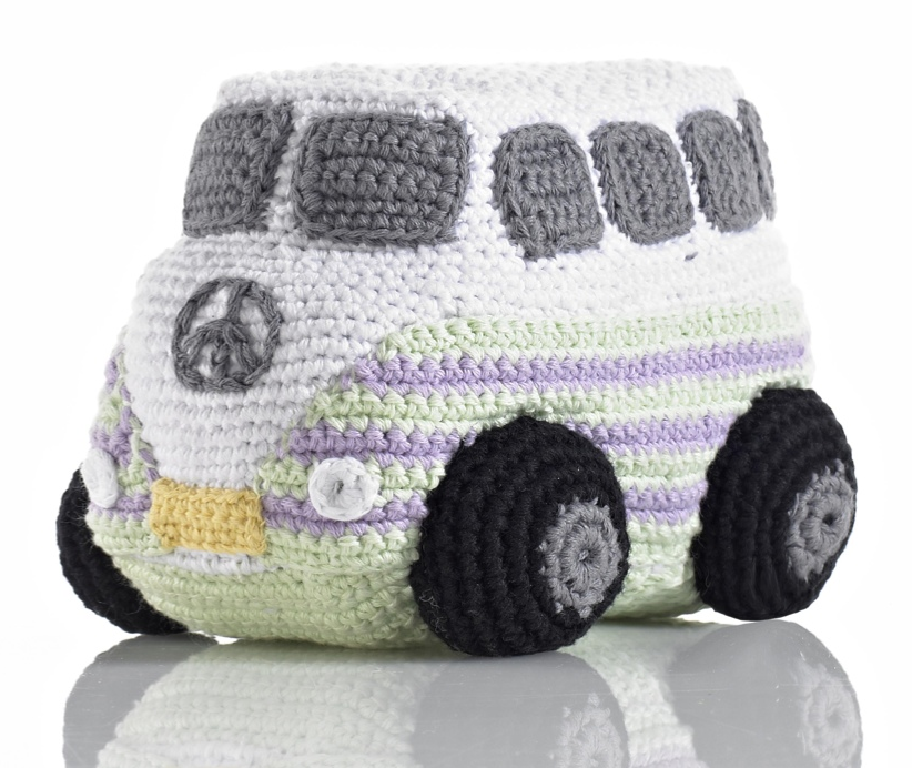 Take a ride on the Peace Van: hand knitted toys and rattles with purpose