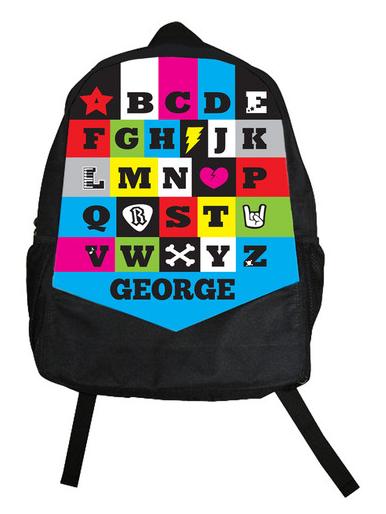 Custom rock star backpacks. Like any kid would turn that down?