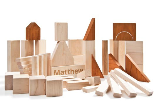 Best gifts for a two year old: Personalized wooden blocks by Larsen Toy Lab
