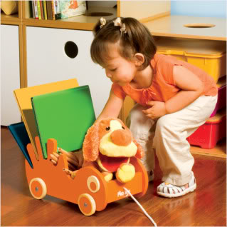 It's a pull toy! It's a bookmobile!