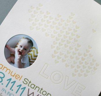A new mom keepsake in glorious letterpress