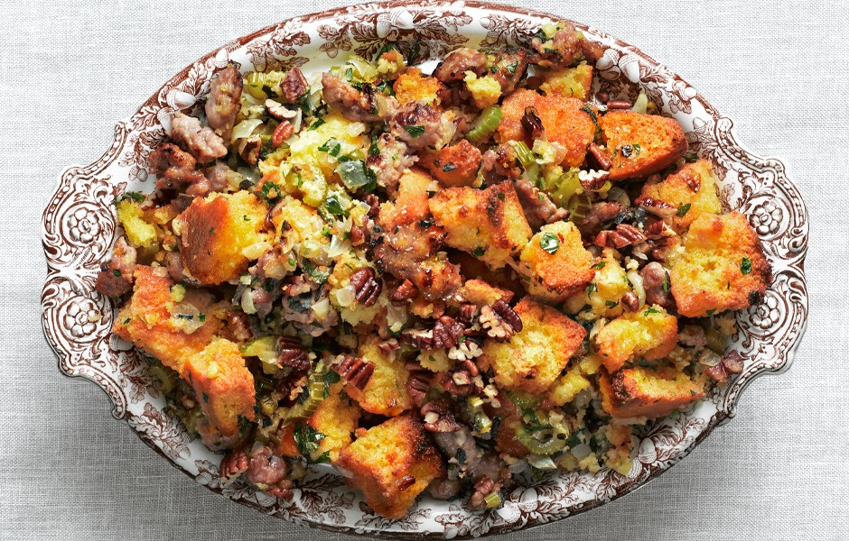 cornbread-and-sausage-stuffing-for-make-ahead-Thanksgiving-recipes