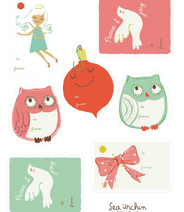 Free printable holiday gift tags from Sea Urchin Studio   Cool Mom Picks