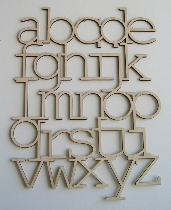 Typography alphabet in laser-cut wood | Cool Mom Picks