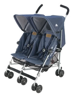 The Maclaren denim stroller rides again, this time for two