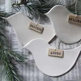 Custom Christmas ornaments, delivered on doves' wings