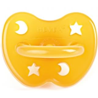 A green pacifier that doesn't suck