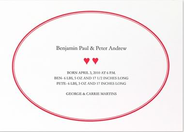 B Designs' gorgeous letterpress birth announcements for twins just look expensive