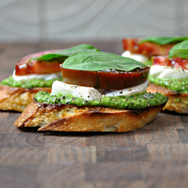 Caprese Crostini with Pesto on Cool Mom Picks