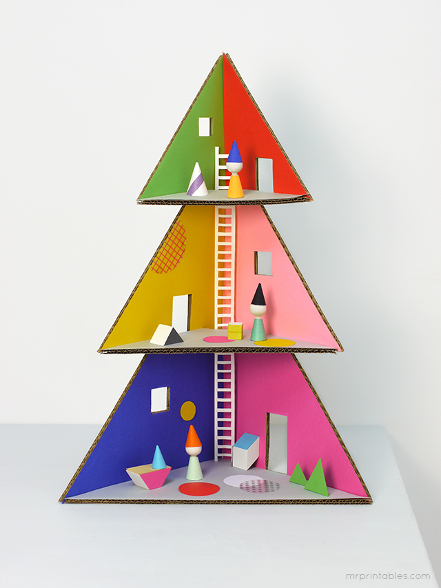 "A DIY Christmas tree dollhouse, also known as ""how to put those Amazon boxes to good use"""