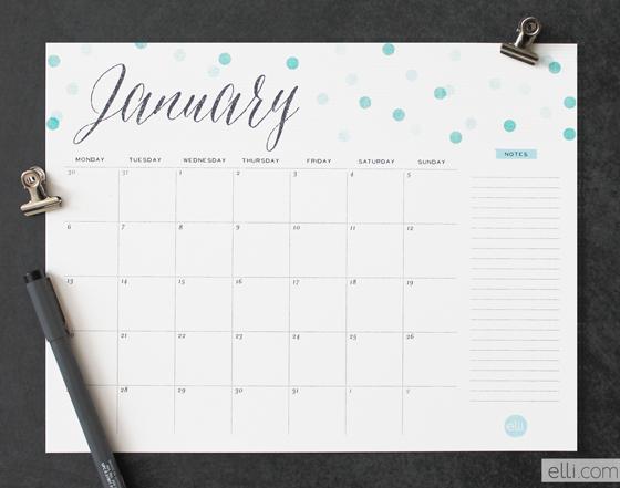 Free printable calendar from Elli | Cool Mom Picks