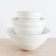 holiday gift: white handmade nesting bowls