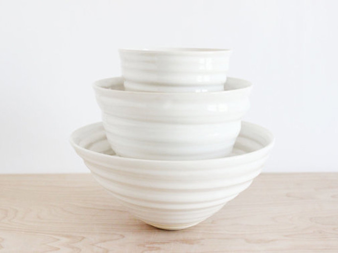 holiday gift: white handmade nesting bowls | cool mom picks