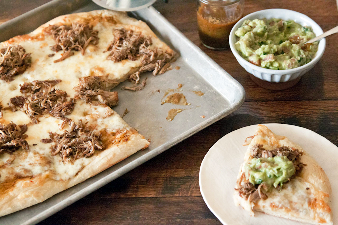 Carnitas and Guacamole Pizza Super Bowl recipe | Cool Mom Picks
