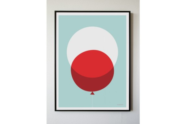 big red balloon print by honey& bloom | cool mom picks