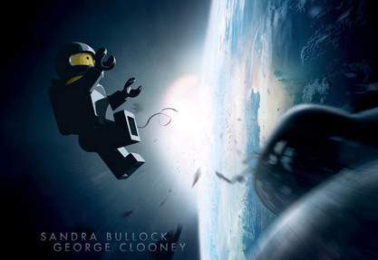 Gravity poster recreated with Lego figures | Cool Mom Picks