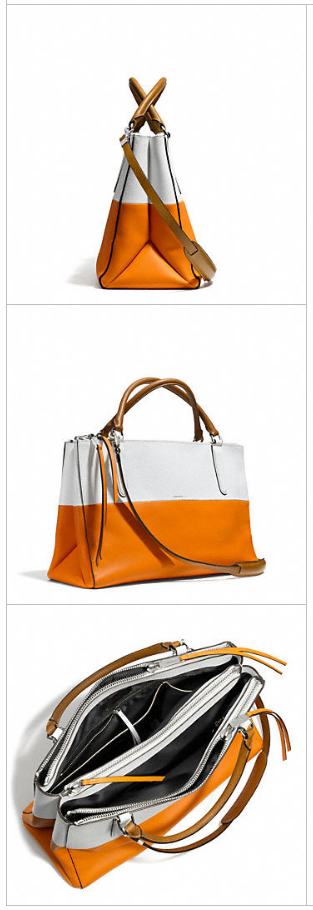 New Coach handbags: Borough in orange + white | Cool Mom Picks