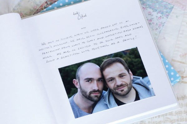 Personalized baby books for same sex couples - Two Dads at Rag & Bone Bindery