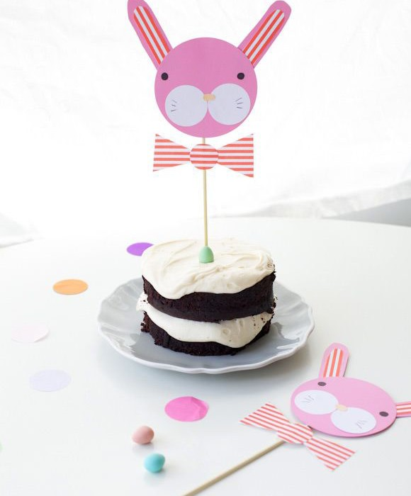 DIY bunny cake toppers for Easter on Handmade Charlotte