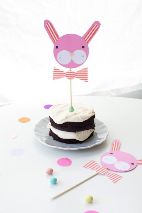 DIY bunny cake toppers for Easter on Handmade Charlotte