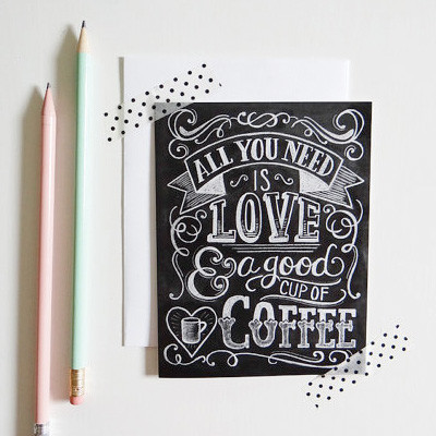 Love and coffee chalkboard card at Lily and Val | Cool Mom Picks