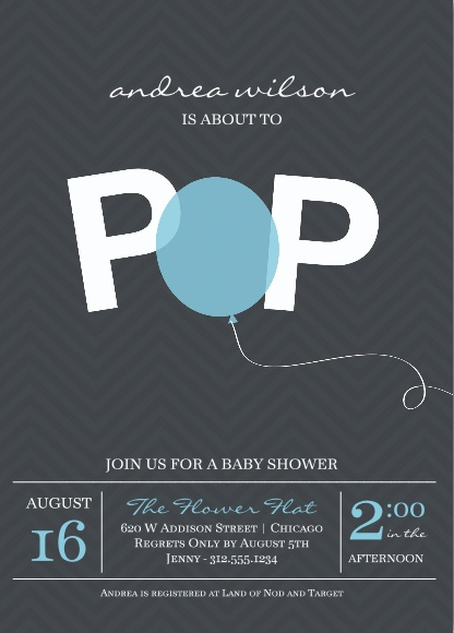 Cool baby shower invitations - balloon at Paper Source  | Cool Mom Picks