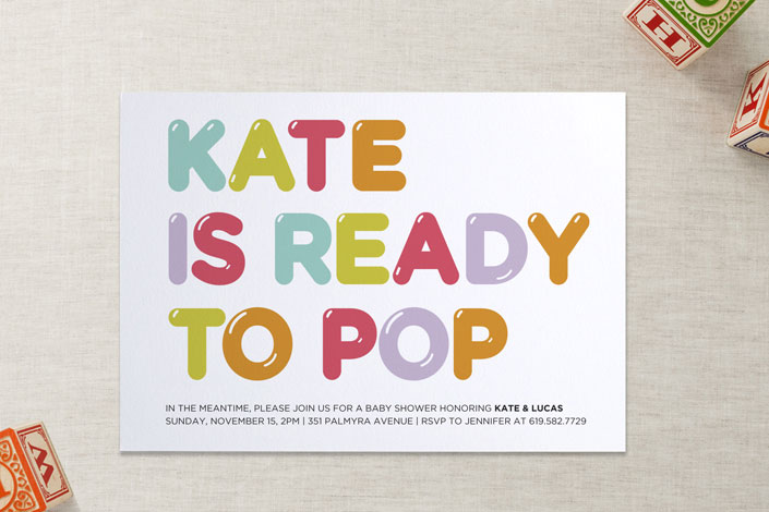 Cool baby shower invitations -she's gonna pop - minted | Cool Mom Picks