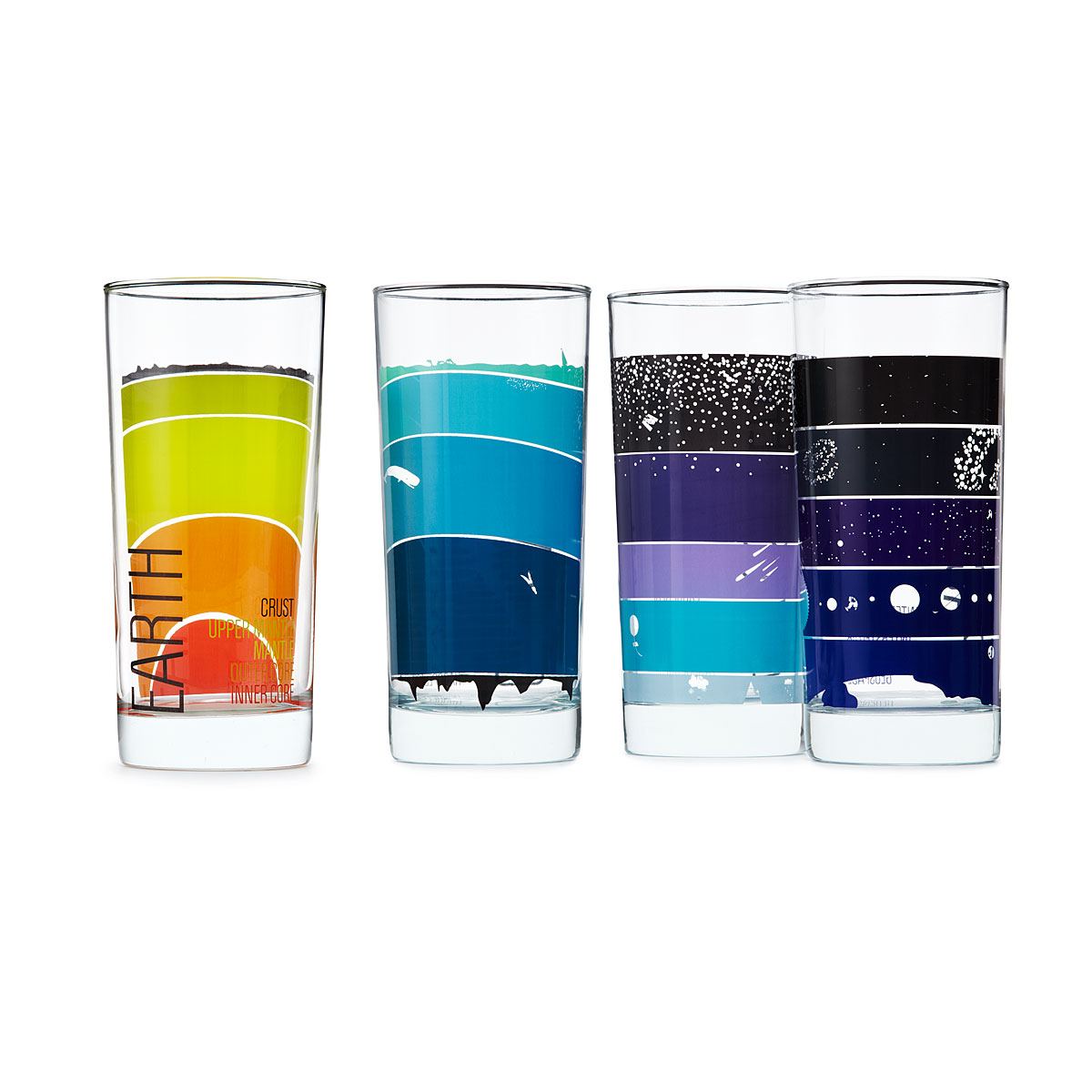 Geek out with these earth science drinking glasses