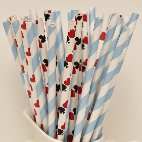 Playing card straws for Alice in Wonderland Tea Party - The Party Fairy Etsy