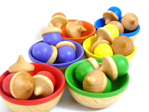 Handmade wooden learning toys: Almost Crunchy rainbow sorting bowls on Etsy | Cool Mom Picks