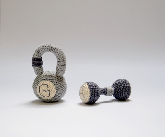 Crocheted baby toys -monogrammed dumbbell rattle at YarnBall at Etsy