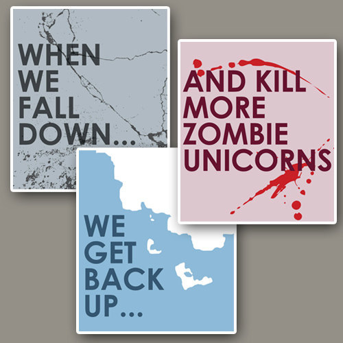 Zombie Unicorns funny art quote at the Geekerie on Etsy