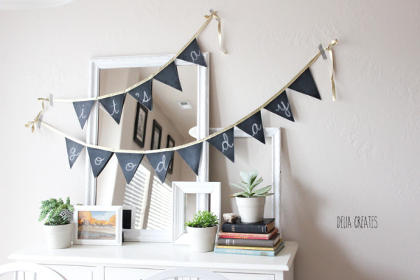 Easy chalkboard paint DIY buntings by Delia Creates | Cool Mom Picks