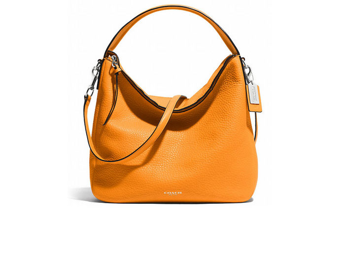 mother's day gift: orange hobo bag in pebbled leather  | cool mom picks