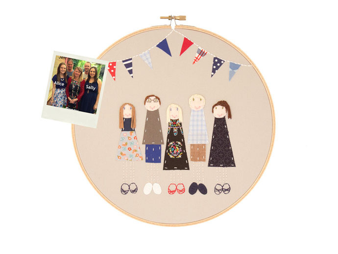 mother's day gift: custom embroidered family portrait  | cool mom picks