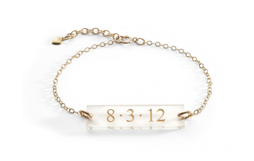 Custom jewelry for mom - personalized acrylic block bracelet by Moon & Lola