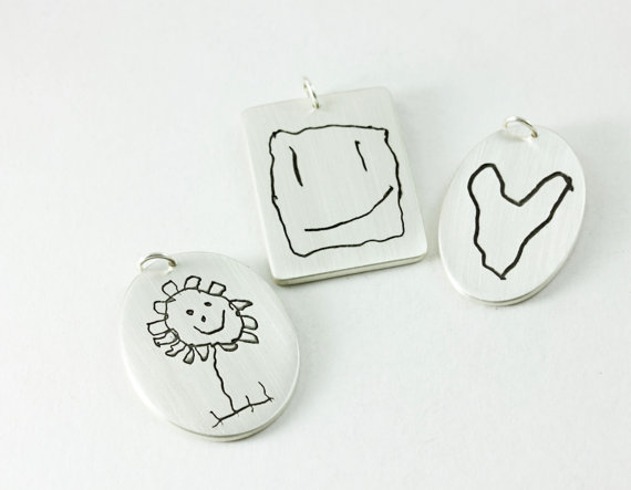 Custom jewelry from kids' artwork: Pendant by Metalmorphis on Etsy