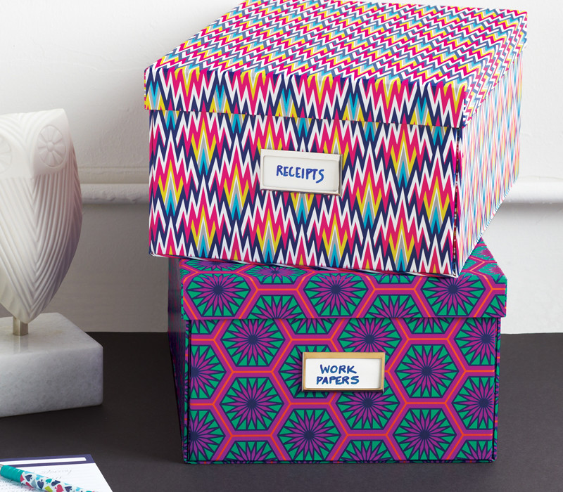 Desk organization file boxes by Jonathan Adler at See Jane Work