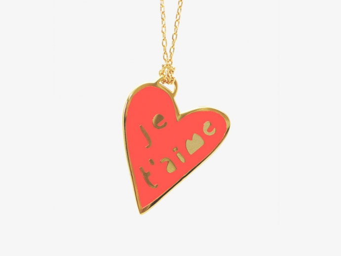 mother's day gift: je t'aime cloissone pendant  | cool mom picks